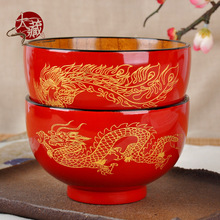 Outside red inside wood grain wood dragon Phoenix wedding bowl couple cutlery custom wedding gift creative gift 2 pieces pack