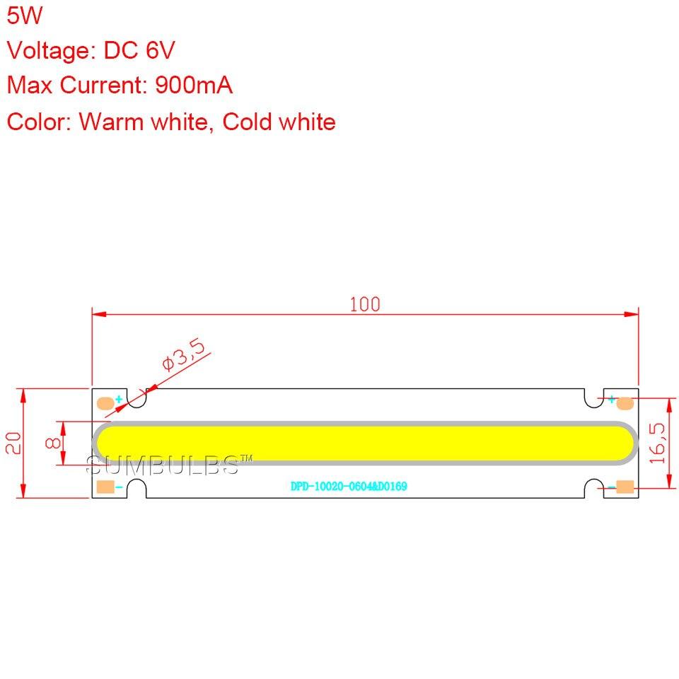 New Arrival 100x20mm Ultra Bright COB LED Strip Bulb 5W DC 6V Lamp ...