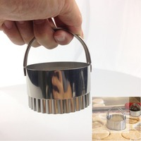 New 5 Pieces Set Dia 4 5 6 7 8 CM Round Wave Stainless Steel Cookie