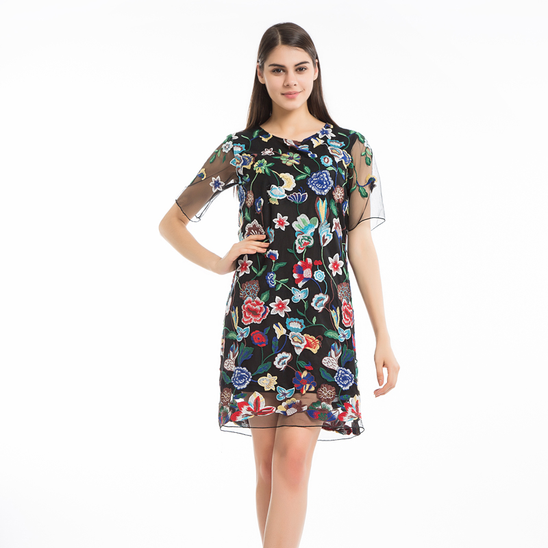 d8bbfc2898b Chicanary Embroidered Floral Women Gauze Dress Short Sleeve Black Sheer  Dresses Bodycon Plus Big Size
