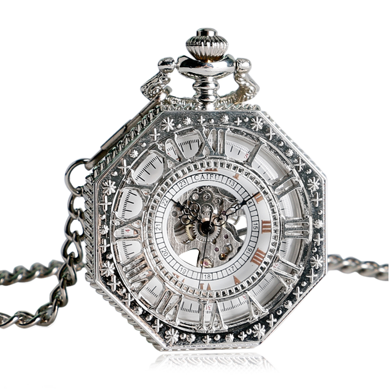 CAIFU Octagon Silver Mechanical Pocket Watch Hand Wind Hollow Carving Skeelton Fob Clock Men Women Vintage Pendnat Gift vintage pocket watch gold unique women pendant mechanical hand wind fob double hunter chain railway men trendy clock gift p1036c