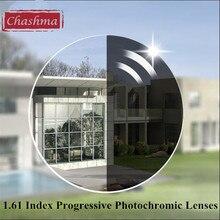 Chashma 비구면 1.61 색인 인테리어 디지털 프로그레시브 프리 폼 verifocal photochromic 렌즈 컬러 렌즈 와이드 필드