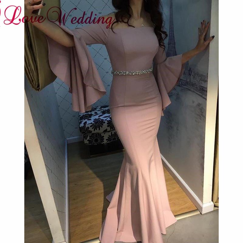 Sexy Evening gown 2019 Pink Mermaid Evening Dress Custom made Bell Sleeves Waist Beaded Elegant Long