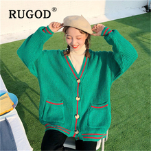 RUGOD Knitted Cardigan sweater Women 2019 Korean winter auturm thicken Bottom Clothing Sweate chic green overcoat femme