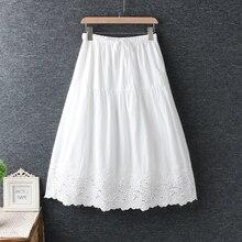 伸縮性ウエスト綿小新鮮な刺繍スカート黒、白スカートロリータ女性 夏 2019