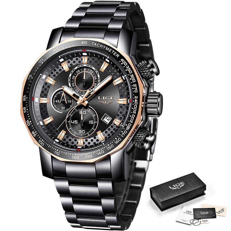 Montre Homme 2019 LIGE yeni spor Chronograph erkek saatler Top marka lüks tam çelik kuvars saat su geçirmez büyük kadranlı saat erkekler