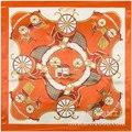 2016 seda H naranja clásico patrón de satén de seda carro satén bufanda bufanda de primavera Ms