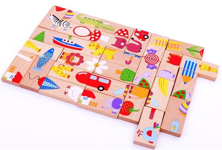Bezmaksas piegāde Animal Solitaire Puzzle / Domino, 28PCS Bērni Standarta Domino, koka agrā bērnības rotaļlietas