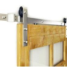 DIYHD 5FT-10FT матовый никелевый стальное оборудование для раздвижной двери сарая классический ролик сарая двери оборудования трек