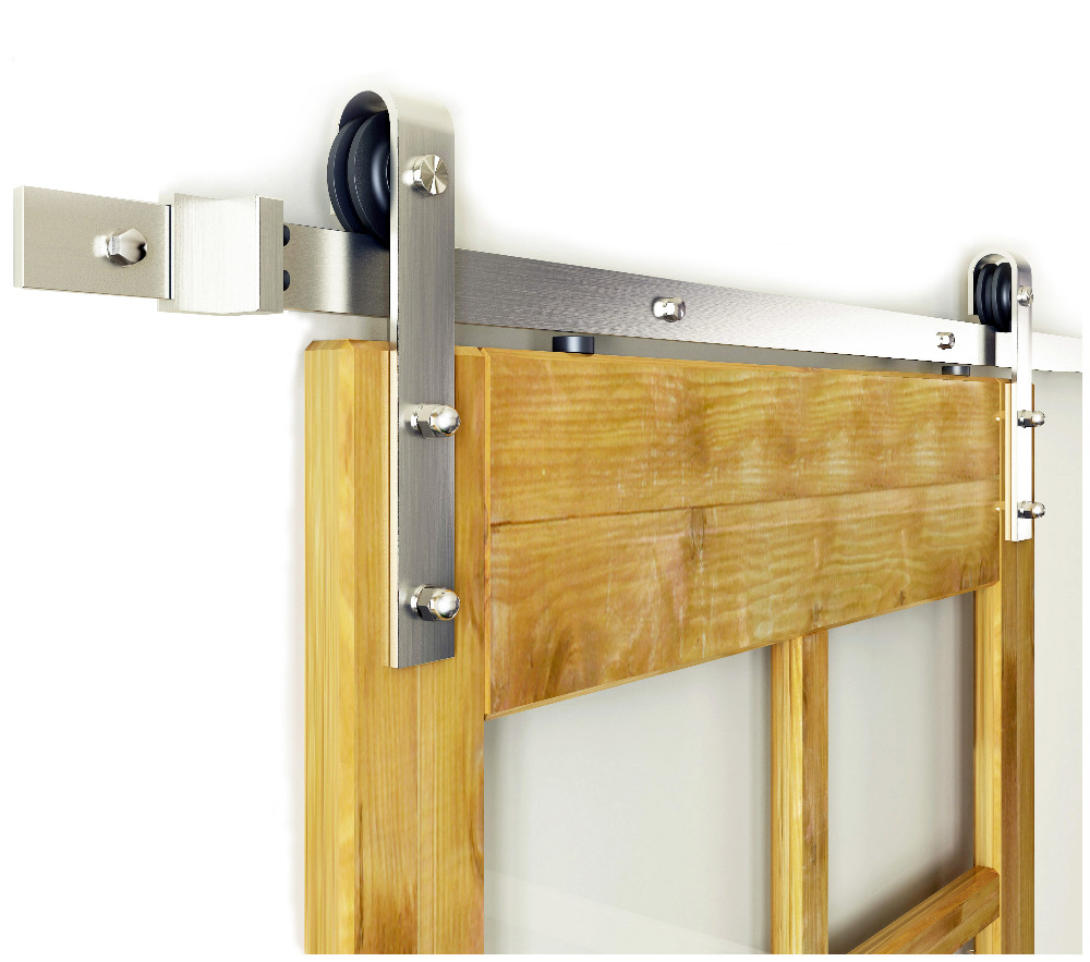 DIYHD 5FT-10FT Brushed Nickel Steel Sliding Barn Door Hardware Classic Roller Barn Door Hardware Track