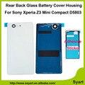 Белый Черный Оранжевый Синий OEM Задняя Дверь Батареи Стеклянная Задняя Крышка дело Корпус + Клей Для Sony Xperia Z3 Compact D5803 D5833