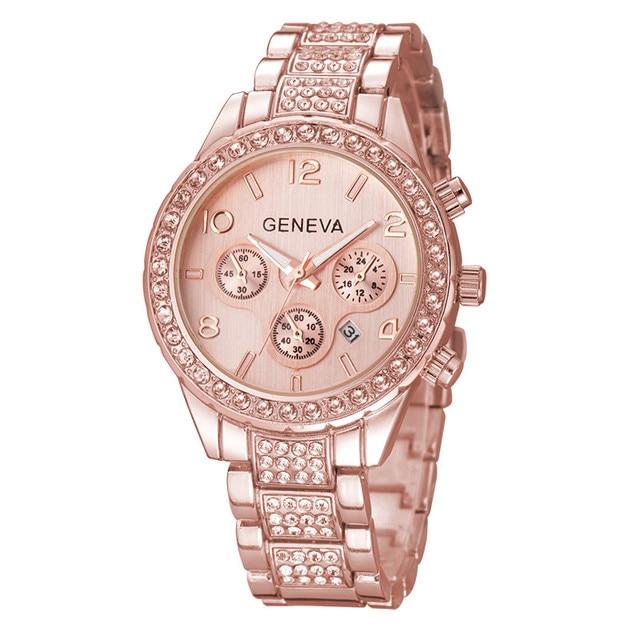 Розовое золото Для женщин Женева кварцевые часы женские роскошные со стразами платье Наручные часы женские Сталь часы подарок Relogio feminino