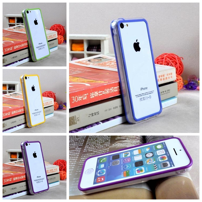 New Hybrid middle transparent Bumper For <font><b>iphone</b></font> <font><b>5c</b></font> soft rubber frame TPU <font><b>case</b></font> <font><b>original</b></font> phone bags cover with 10th color image
