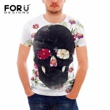 FORUDESIGNS Vintage Punk Skull Printing Short Sleeve T Shirt For Man 2017 Fashion Elastic Comfort Tee Shirt Men Streetwear Tops