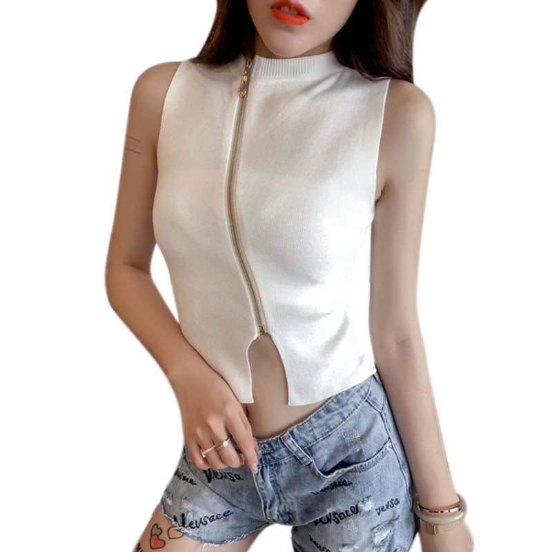Tees Crop-Top Knitted HALTER-NECK-ZIPPER Sleeveless Tank-Tops Camisole T-Shirts Bodycon