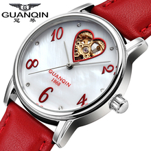 QUANQIN Mecánico Reloj Mujer Niñas Reloj de Cuero Impermeable Relojes de Lujo 2016 de Las Mujeres Vestido de Las Señoras Relojes Reloj Montre Femme