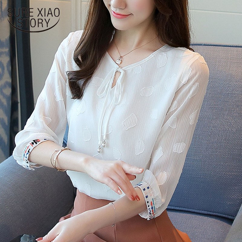 2018 summer ladies tops chiffon women   blouse     shirt   fashion white chiffon   blouse   women   shirt   tops blusas feminine   blouses   0377 40