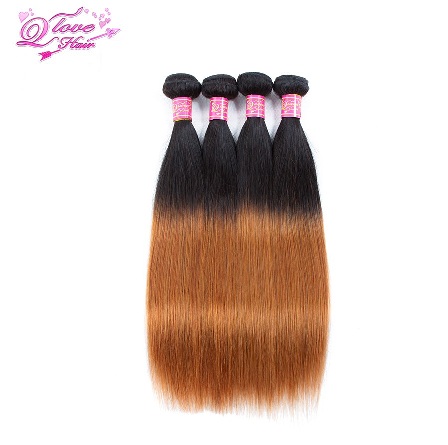 Queen Love Hair Pre-Colored Ombre Human Hair Bundles 1B/30 Brazilian Straight Hair Extensions 4PC Non Remy Hair 100g/Piece