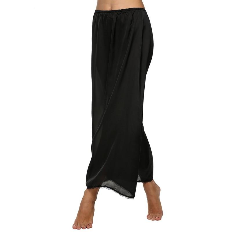 f263aa1a41b8e Women Half Slip Satin Trim Maxi Lace Underskirt Slip Summer Loose ...