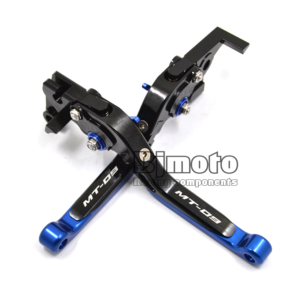 LS-001-MT09-BK-BL New Motorcycle Adjustable Foldable Extendable Brake Clutch Levers Motorbike Brake For Yamaha MT09 2014-2017 bj ls 001 f14 c777 bl motorcycle cnc adjustable folding extendable brake clutch levers set for yamaha fjr 1300