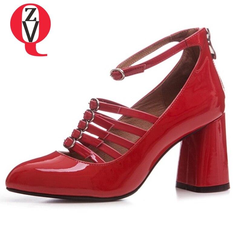 Haut Boucle black Pointu Nude Zvq Style Rome Creux Véritable Chaussures Color Bout Cm 8 Pompes En Cuir Femme red Cheville Talons De Nouveaux Femmes Boucles Talon XwqwSHO