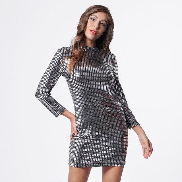 Новое женское серебристое платье с блестками, платье с длинным рукавом и сумочкой на бедрах для ночного клуба, Длинное Элегантное приталенное повседневное платье, женские платья 3
