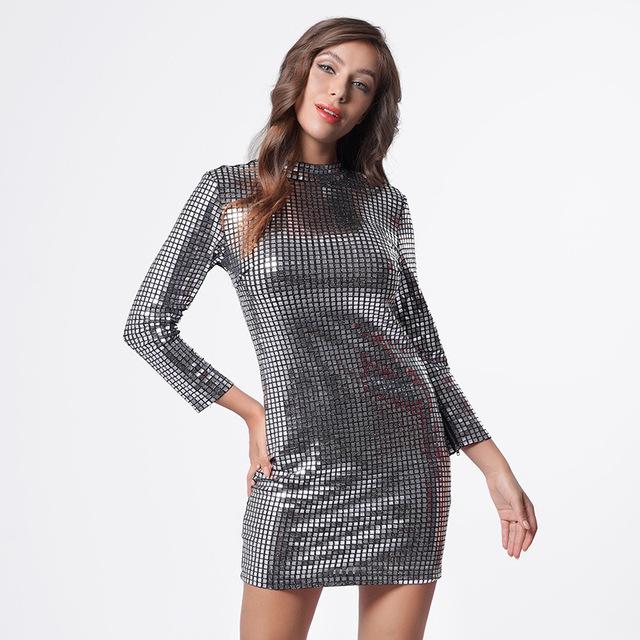 Long sleeve silver sequin dress