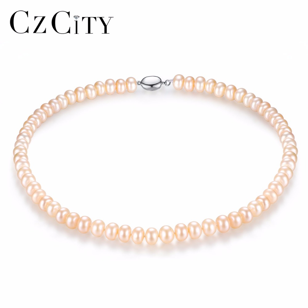 CZCITY Pearl Jewelry Fine Freshwater Pearl Necklace Natural Pearl Necklace 8-9mm White,Pink,Multicolor Stone Choker For Women [nymph ]natural pearl necklace pearl jewelry white freshwater choker necklace trendy for wedding party fine jewelry x120