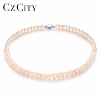 CZCITY Pearl Jewelry Fine Freshwater Pearl Necklace Natural Pearl Necklace 8 9mm White,Pink,Multicolor Stone Choker For Women