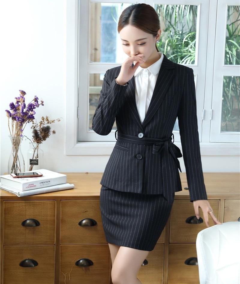 Angemessen Hohe Qualität Faser Schwarz Gestreiften Blazer Frauen Buseinss Anzüge Wit Rock Und Jacke Sets Damen Amt Uniform Designs Stile