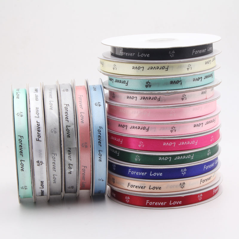 50y/lot 10mm Letter Satin Ribbons Hair Bow/Party/Birthday Flower DIY Trim Sewing Ribbon Handcraft Decoration Materials LX787