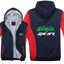 ZX-9R Hoodies Mens Zipper Coat Fleece Thicken Man Kawasaki Motorcycle Ninja Sweatshirt Pullover(China)