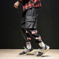 2018 new listing Fashion Leisure Hip hop Tide Haren Time Multi Bag Stripe Motion Weave Bring Banded Pants Men The Hot causal