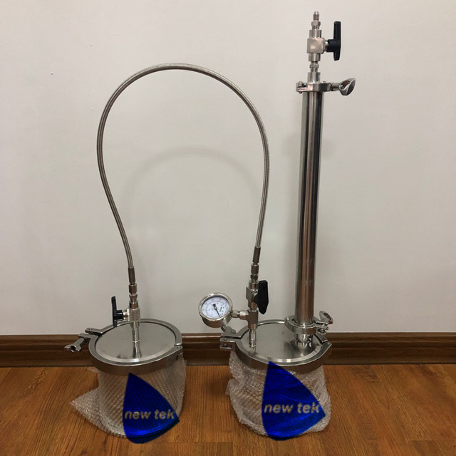 135g Stainless Steel Top Filled Closed Loop Bho Extractor W/braid Hose Gauge And Shower Head