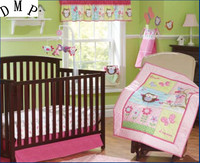Promotion! 7pcs Embroidery Crib Bedding Set For Children's Bed Crib Set ,include (bumpers+duvet+bed cover+bed skirt)