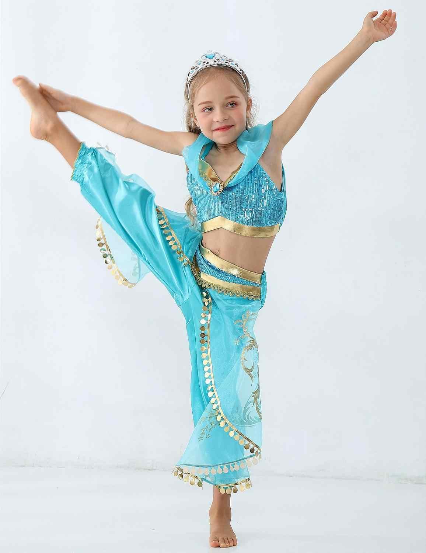Hoge Kwaliteit Volwassen Kinderen Aladdin Prinses Jasmine Kostuum Cosplay Pruiken Halloween Party Vrouwen Meisje Buikdans Kostuum
