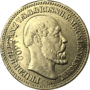 24 - k gold plated German 1878 10 Mark coin copy 19.5mm(China)