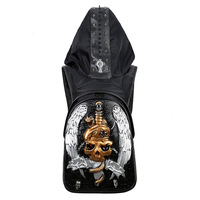 3D Embossing Double Schulter Tasche Halloween Rock Erwachsene Leisure Travel PU Soft Leather Rucksack Hood Cap apparel Backpack