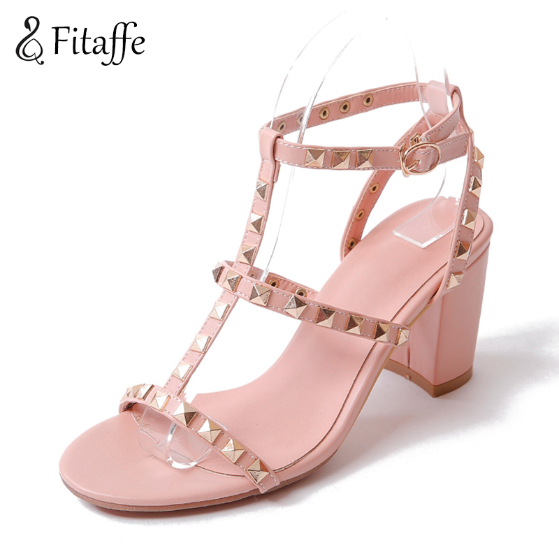 FITAFFE buckle strap peep toe high heel Sandals Rivet Studded Gladiator Sandals Women Summer shoes Fashion rome Shoes AI017 2017 women casual wedges sandals shoes summer gladiator platform style sandal cross strap peep toe high heel shoes smybk 054