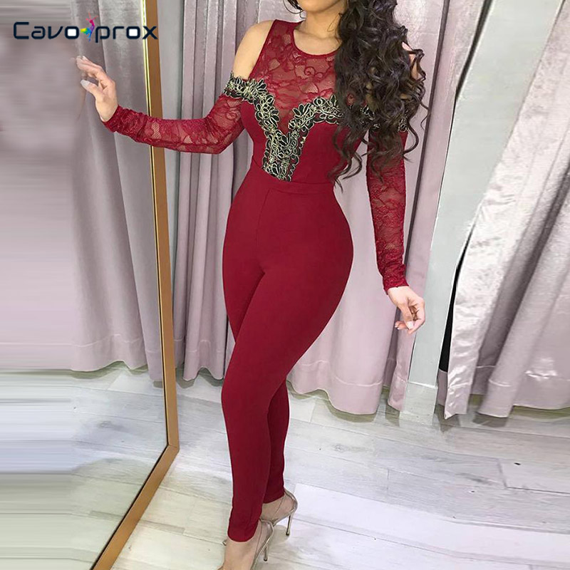 Women Cold Shoulder Lace Splicing Bodycon   Jumpsuit   Long Sleeve Skinny O-neck Streetwear Spring Fall Fashion   Jumpsuits