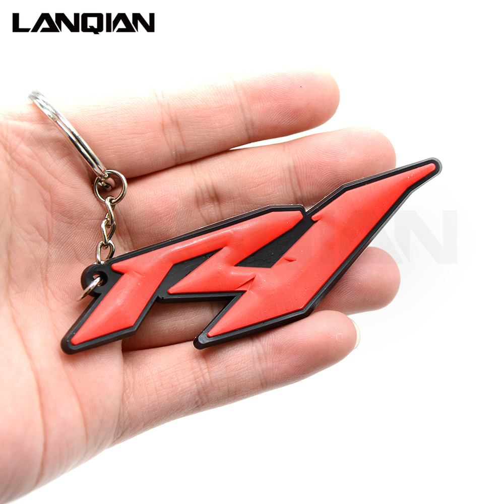 4 Colors Optional Motorbike Accessories 3D Soft Rubber Motorcycle Key Ring White Motorbike Keychain For Yamaha YZF R1