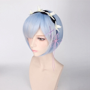 Image 3 - Re:Life In A Different World From Zero Graduated Ram Rem Cosplay Wig for Women Short Straight Pink Blue Anime Wig