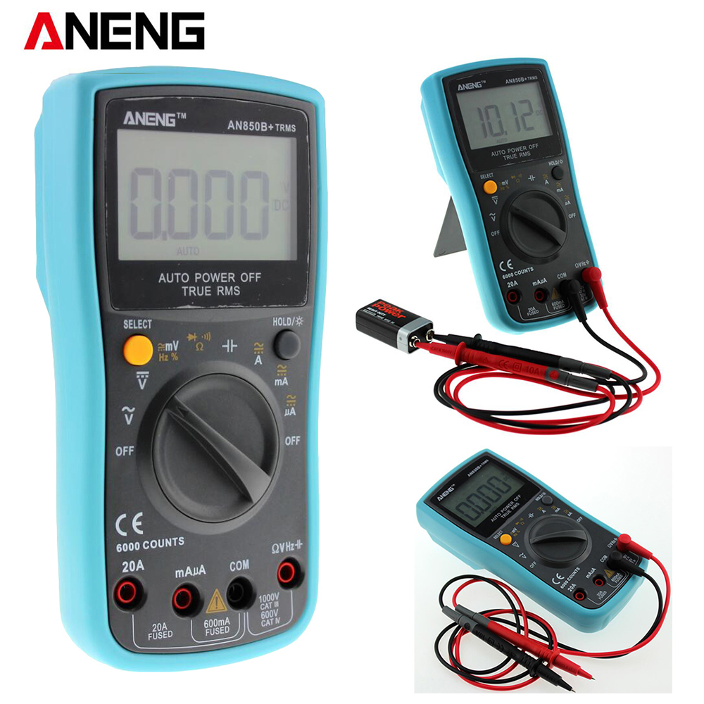 AN850B+ 6000 counts LCD Digital Multimeter DMM with NCV Detector DC AC Voltage Current Meter Resistance Diode Capaticance Tester excel dt9205a 3 lcd digital multimeter black orange 1 x 6f22