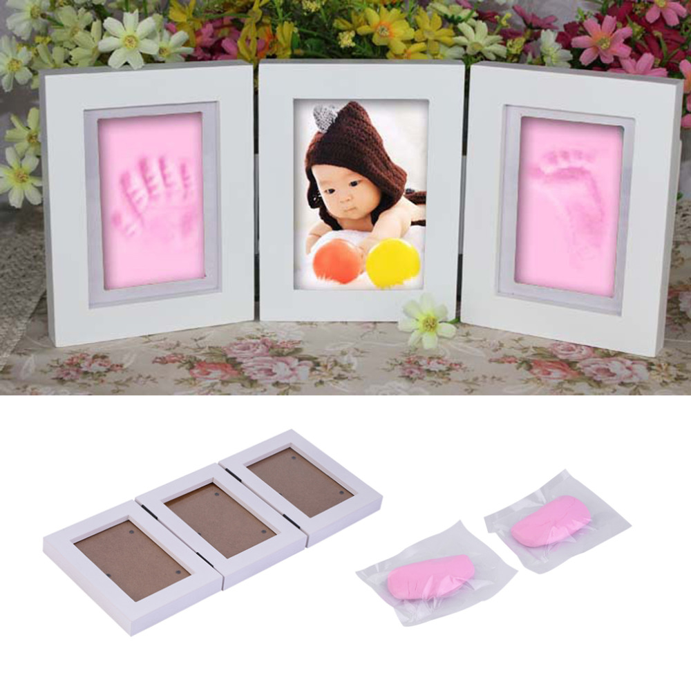 SODIAL Cute Baby Photo Frame DIY Handprint 12 Months Photo Frame Baby Boy Girl One Year Anniversary Photo Frame Pink
