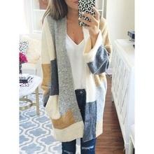 Clocolor Women Cardigan Knitwear Gray Long Sleeve Mid length Loose  Spring Fall Winter