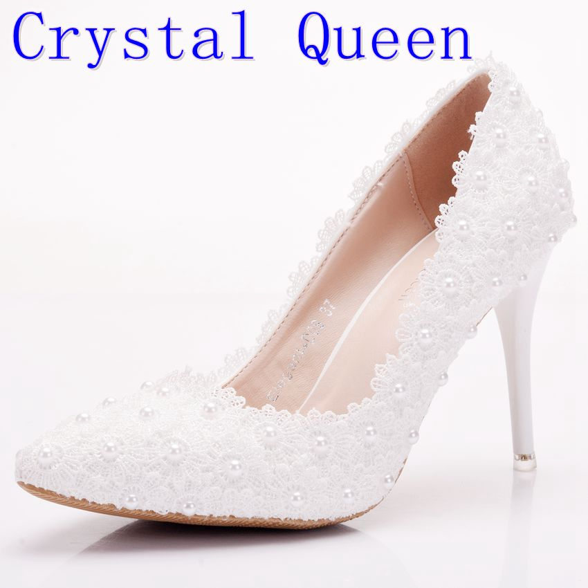 Crystal Queen Sweet White Flower Women Pumps High Heels Lace Platform Pearls Wedding Shoes Bride Dress Shoes Heel Height 9CM