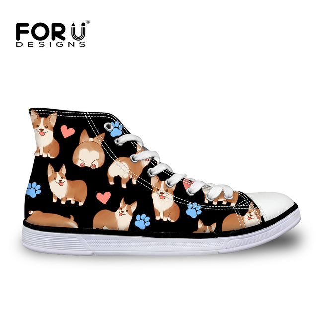 FORUDESIGNS Custom Women' Casual Vulcanized Shoes Cute Cartoon Animal Dog Pattern High Top Canvas Shoes For Women ladies Girls