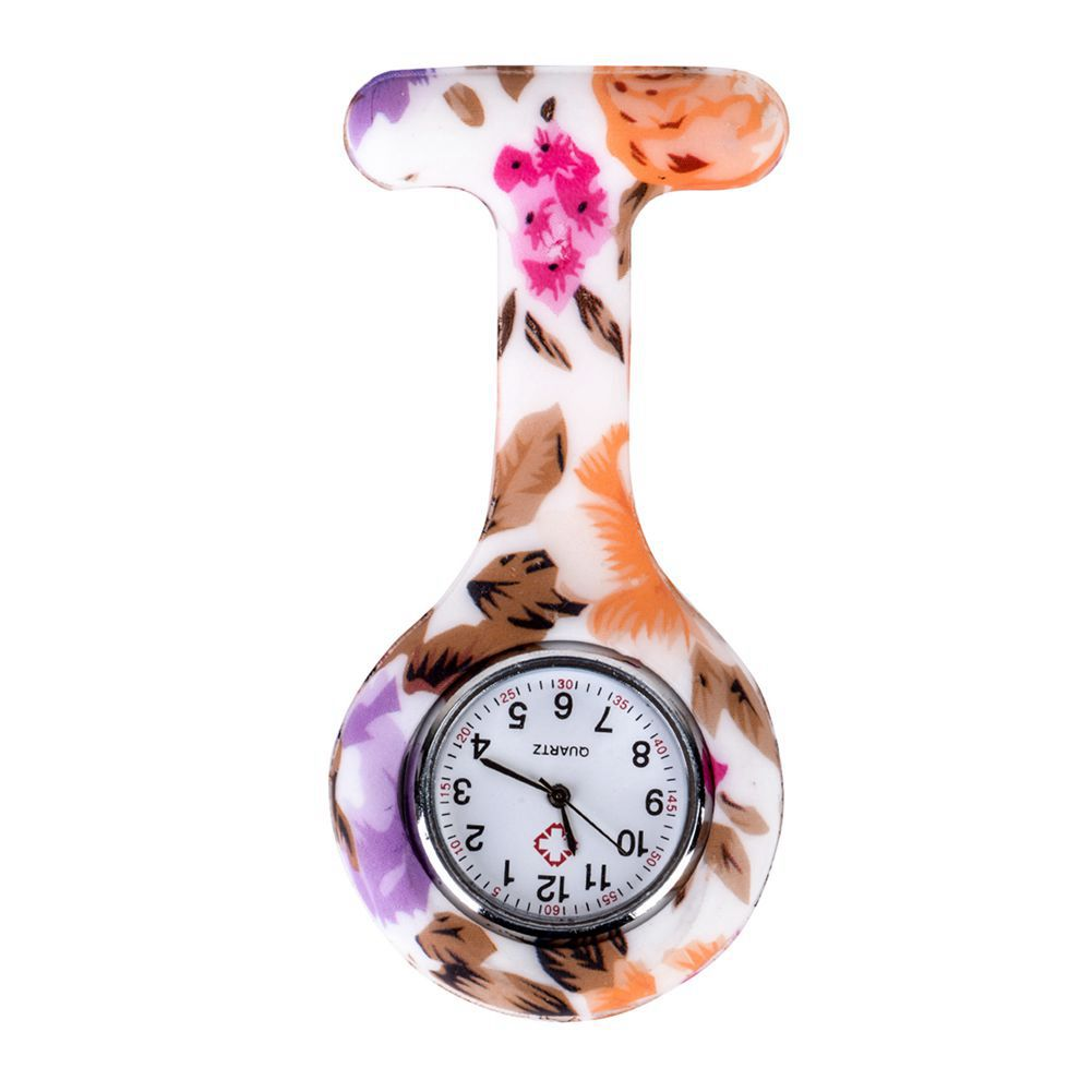 Colored Flowers Leaves Pattern Silicone Nurses Brooch Tunic Fob Pocket Watch Stainless Dial