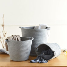 hot deal buy cotton rope storage baskets with handle large dirty clothes laundry basket natural woven storage bin kids toy sundries organizer