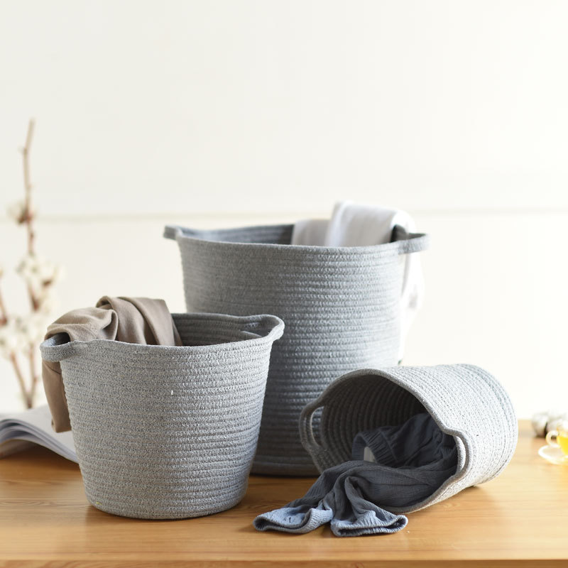 Cotton Rope Storage Baskets With Handle Large Dirty Clothes Laundry Basket Natural Woven Storage Bin Kids Toy Sundries Organizer